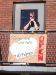 The Grannie Annie Kitchen banner with Grannie Annie herself