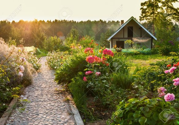 20884151-road-in-the-beautiful-garden-stock-photo-garden-landscape
